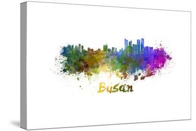 Busan Skyline in Watercolor-paulrommer-Stretched Canvas Print