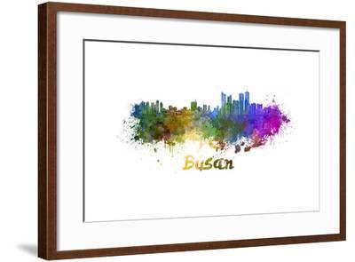Busan Skyline in Watercolor-paulrommer-Framed Art Print