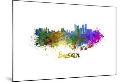 Busan Skyline in Watercolor-paulrommer-Mounted Art Print