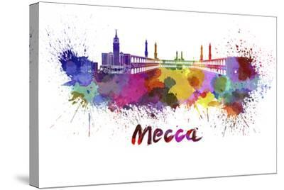 Mecca Skyline in Watercolor-paulrommer-Stretched Canvas Print