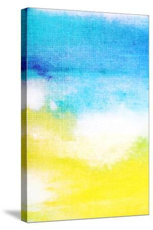 Abstract Textured Background: White and Yellow Patterns on Blue Sky-Like Backdrop. for Art Texture,-iulias-Stretched Canvas Print
