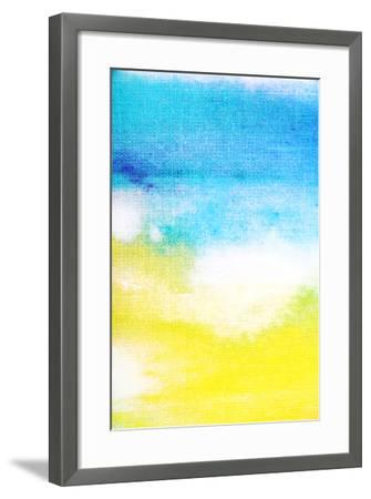 Abstract Textured Background: White and Yellow Patterns on Blue Sky-Like Backdrop. for Art Texture,-iulias-Framed Art Print