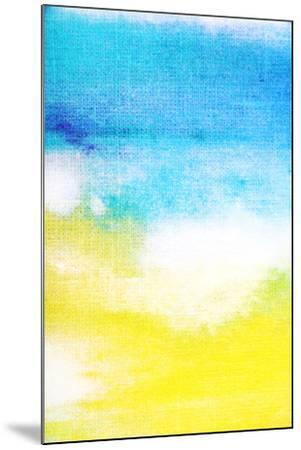 Abstract Textured Background: White and Yellow Patterns on Blue Sky-Like Backdrop. for Art Texture,-iulias-Mounted Art Print