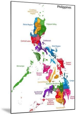 Map Of Republic Of The Philippines With Eighty Provinces Art Print