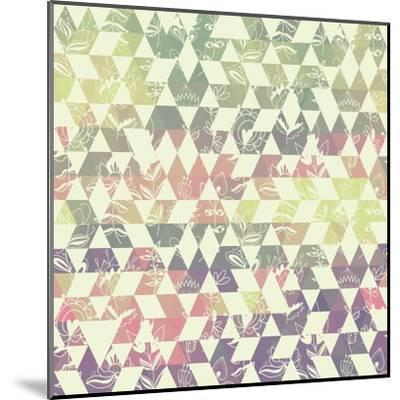 Pattern Geometric with Triangle and Plant Elements-Little_cuckoo-Mounted Art Print