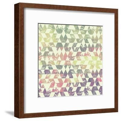 Pattern Geometric with Triangle and Plant Elements-Little_cuckoo-Framed Art Print
