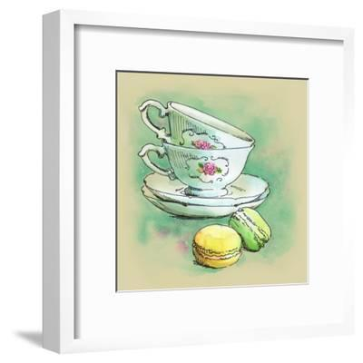 Painted Watercolor French Dessert Macaroons and Tea Cups-lozas-Framed Art Print