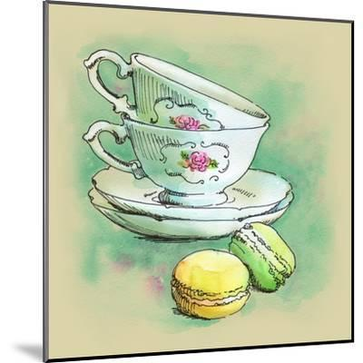 Painted Watercolor French Dessert Macaroons and Tea Cups-lozas-Mounted Art Print