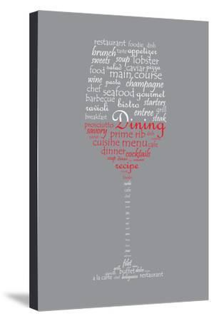 Food and Dining Concept on a Wine Glass Shaped Word Collage-shutter4543-Stretched Canvas Print