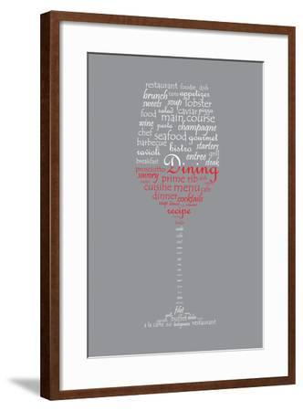 Food and Dining Concept on a Wine Glass Shaped Word Collage-shutter4543-Framed Art Print