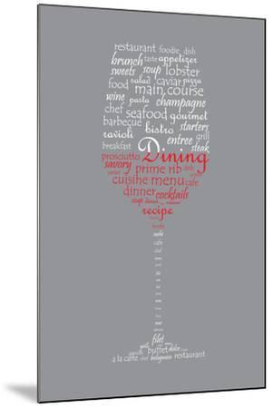 Food and Dining Concept on a Wine Glass Shaped Word Collage-shutter4543-Mounted Art Print