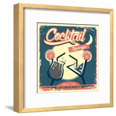 Cocktail Retro Poster-Ayeshstockphoto-Framed Art Print