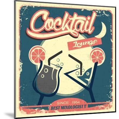 Cocktail Retro Poster-Ayeshstockphoto-Mounted Art Print