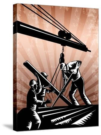 Construction Team Workers Woodcut Retro Poster-patrimonio-Stretched Canvas Print