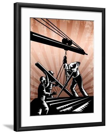 Construction Team Workers Woodcut Retro Poster-patrimonio-Framed Art Print
