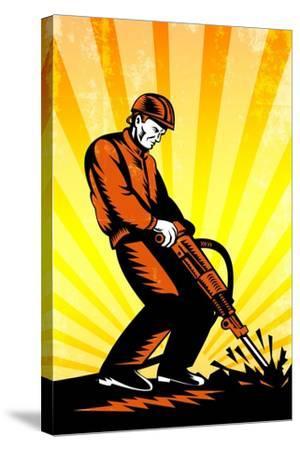 Construction Worker Jackhammer Retro Poster-patrimonio-Stretched Canvas Print