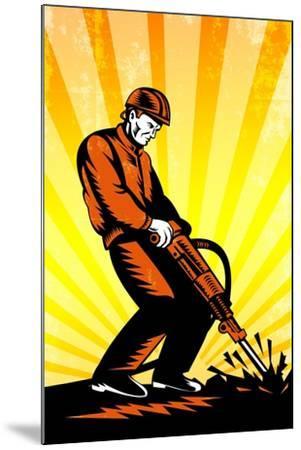 Construction Worker Jackhammer Retro Poster-patrimonio-Mounted Art Print
