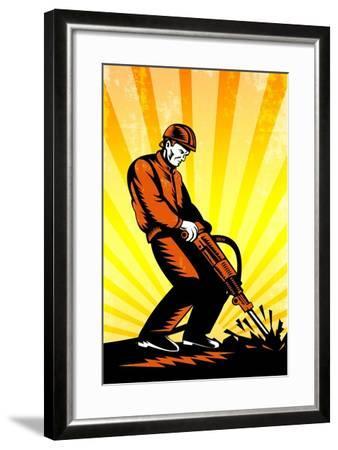 Construction Worker Jackhammer Retro Poster-patrimonio-Framed Art Print