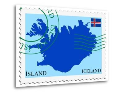Stamp with Map and Flag of Iceland-Perysty-Metal Print