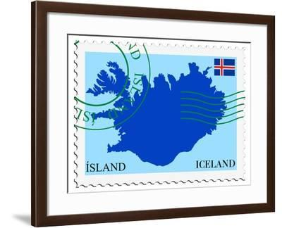 Stamp with Map and Flag of Iceland-Perysty-Framed Art Print