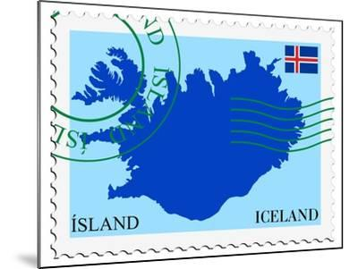 Stamp with Map and Flag of Iceland-Perysty-Mounted Art Print