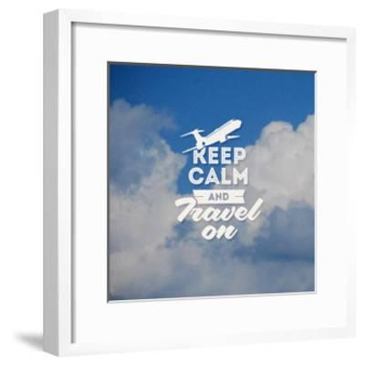 Travel Type Design with Clouds Background-vso-Framed Art Print