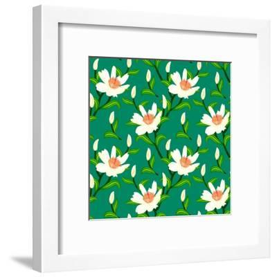 Vector Pattern with Classic Japanese Motifs-tukkki-Framed Art Print