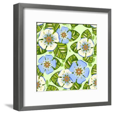 Romantic Floral Seamless Pattern-dNaya-Framed Art Print