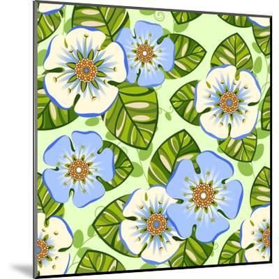 Romantic Floral Seamless Pattern-dNaya-Mounted Art Print