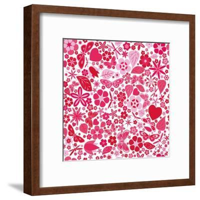 Flowers and Butterflies Colored Pattern-A7880S-Framed Art Print