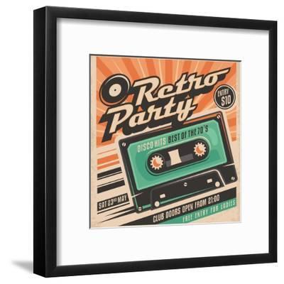 Retro Party Poster Design-Lukeruk-Framed Art Print