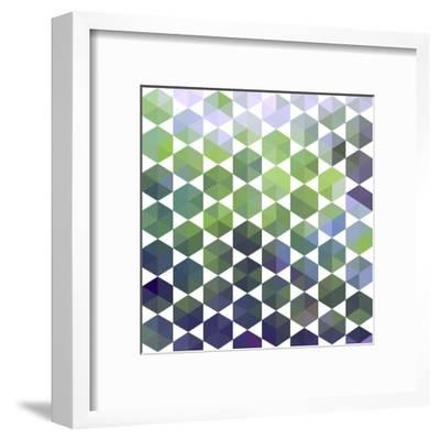 Retro Pattern of Geometric Hexagon Shapes-Little_cuckoo-Framed Art Print