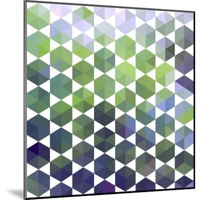 Retro Pattern of Geometric Hexagon Shapes-Little_cuckoo-Mounted Art Print