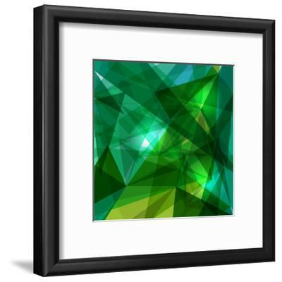 Blue and Green Geometric Pattern-cienpies-Framed Premium Giclee Print
