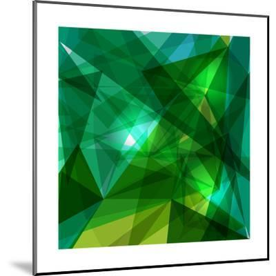 Blue and Green Geometric Pattern-cienpies-Mounted Premium Giclee Print