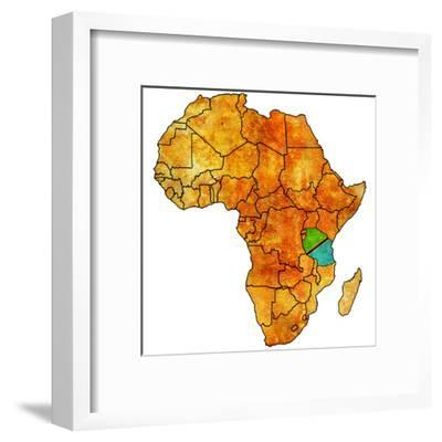 Tanzania on Actual Map of Africa-michal812-Framed Art Print