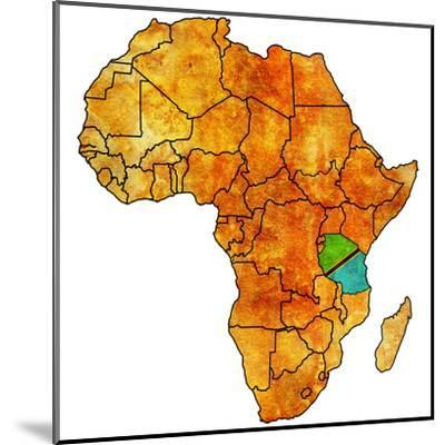 Tanzania on Actual Map of Africa-michal812-Mounted Art Print