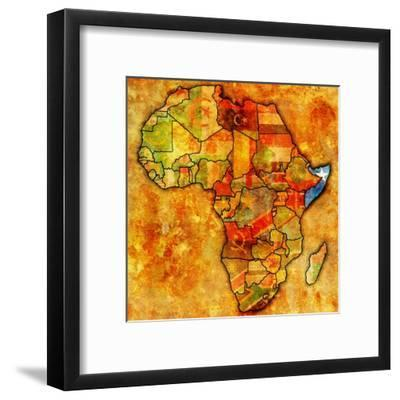 Somalia on Actual Map of Africa-michal812-Framed Art Print