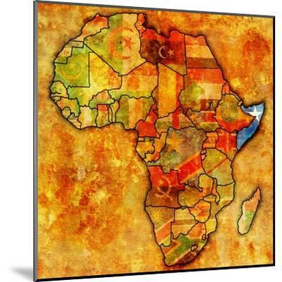 Somalia on Actual Map of Africa-michal812-Mounted Art Print