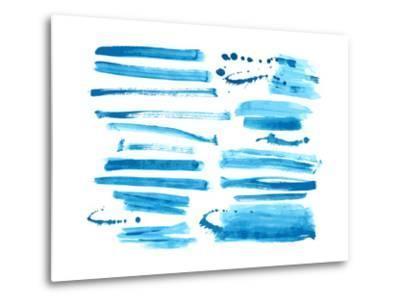 Watercolor Blue / Ink Brush Strokes Collection-Danussa-Metal Print