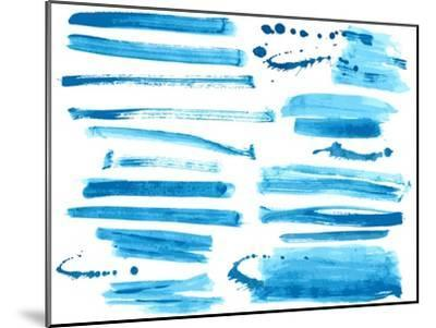 Watercolor Blue / Ink Brush Strokes Collection-Danussa-Mounted Art Print