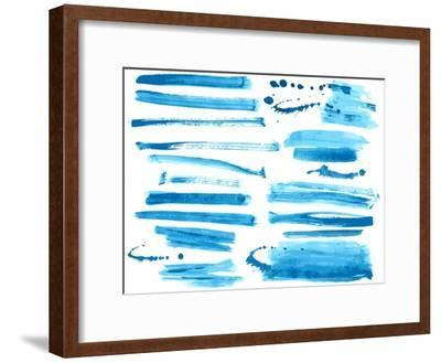 Watercolor Blue / Ink Brush Strokes Collection-Danussa-Framed Art Print