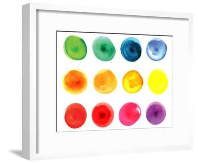 Set of Watercolor Circles  in Vibrant Colors. Watercolor Wet Stains Isolated on White.-LiMaxo-Framed Art Print