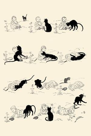 Cat and Baby-Th?ophile Alexandre Steinlen-Framed Art Print