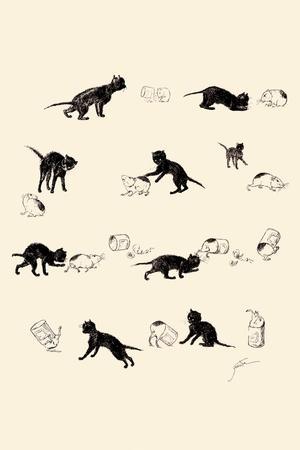 Cat and Guinea Pig-Th?ophile Alexandre Steinlen-Framed Art Print