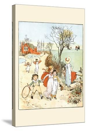Children Jumped Ropes and Played with Hoops Along a Road-Randolph Caldecott-Stretched Canvas Print