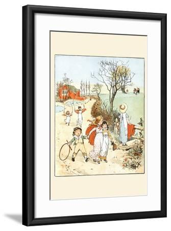 Children Jumped Ropes and Played with Hoops Along a Road-Randolph Caldecott-Framed Art Print