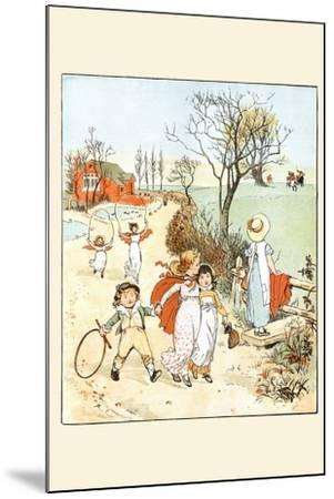 Children Jumped Ropes and Played with Hoops Along a Road-Randolph Caldecott-Mounted Art Print