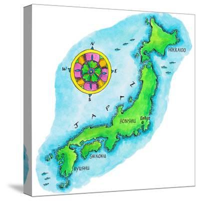 Map of Japan-Jennifer Thermes-Stretched Canvas Print