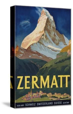 Zermatt Poster by Carl Moos--Stretched Canvas Print